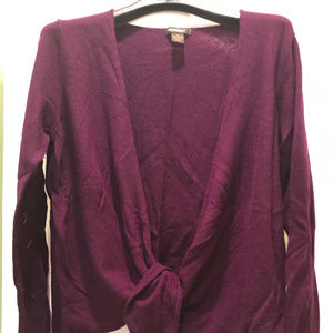 Cashmere Sweater - Maroon, tie front